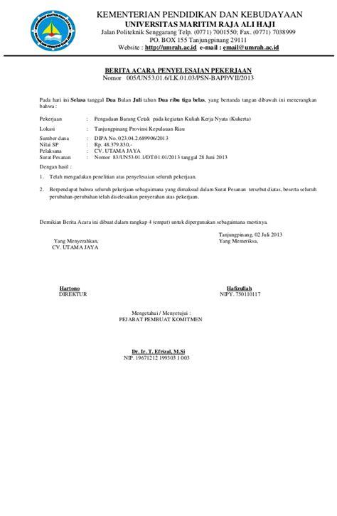 format berita acara pembayaran pengadaan barang dan jasa berita acara copy