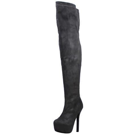 womens stretch the knee block heel high evening