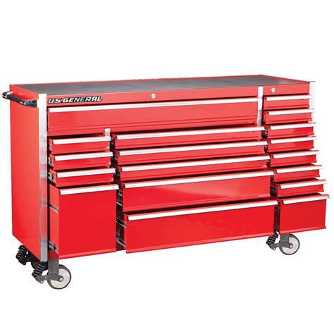 72 in 18 drawer glossy red industrial roller cabinet