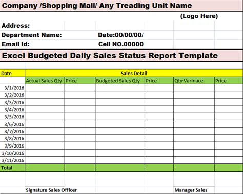 Daily Status Report Template Excel
