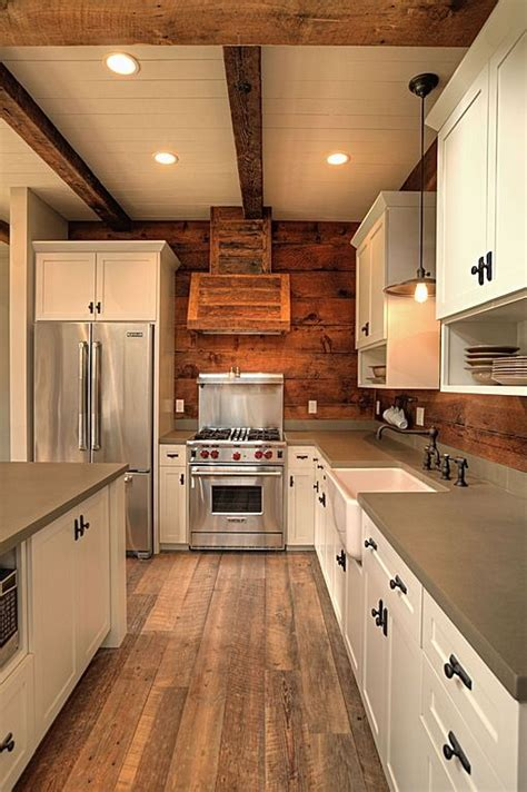L Shaped Country Kitchen Designs Concrete Island Farmhouse Exposed Beams Rustic Country Custom Ventilation Flat Panel
