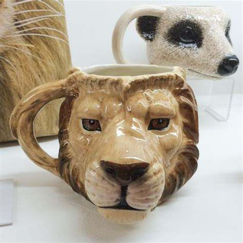 animal shaped mugs lion and meerkat shaped ceramic mugs mug lion animal