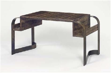 Wood And Wrought Iron Desk by A Palm Wood And Wrought Iron Desk Eugene Printz Circa