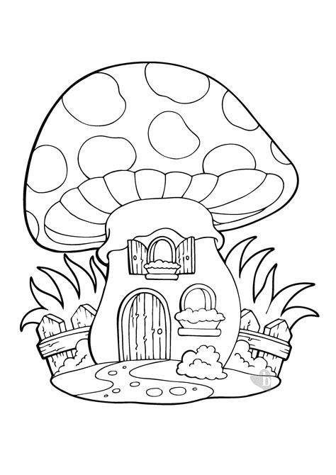 disegni casa la casa fungo da colorare bimbi sani e belli
