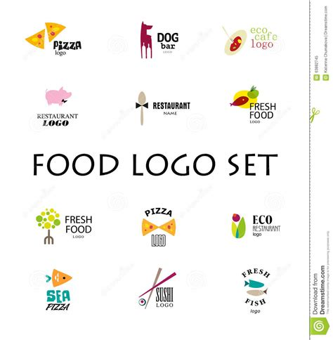 Vector Set Of Restaurant Logo Design Tempaltes. Stock