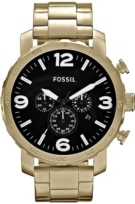 fossil nate chronograph stainless steel gold tone