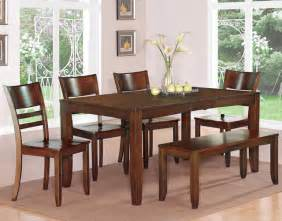 Rectangle Dining Table With Bench Seat 6pc Lynfield Rectangular Dining Table With 4 Wood Seat