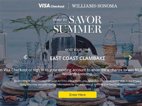 Williams Sonoma Giveaway - the visa checkout 2015 williams sonoma sweepstakes