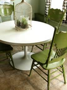Painted Kitchen Furniture by Painted And Distressed Green Kitchen Chairs See Cate Create