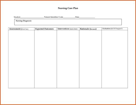 Nursing Templates by Free Nursing Care Plan Templates Carisoprodolpharm