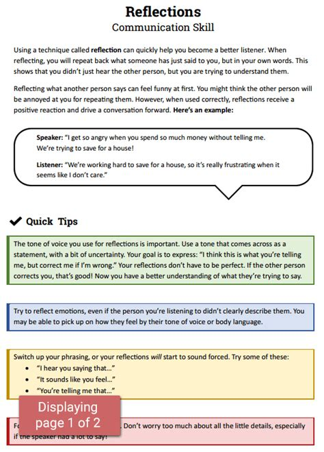 reflections communication skill worksheet therapist aid