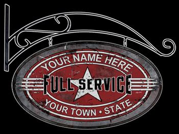 service station personalized sign
