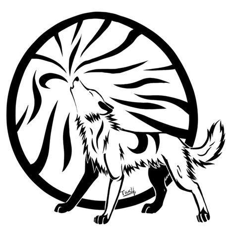 tribal wolf outline www pixshark tribal howling wolf by tsukihowl on deviantart