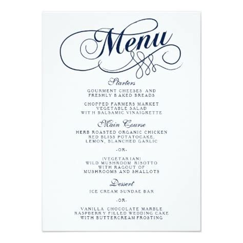 menu invitation template navy blue and white wedding menu templates