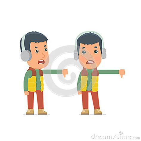 frustrated and angry character winter citizen showing thumb stock illustration image
