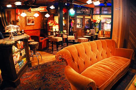 friends orange couch central perk friends pop up coffee shop complete with