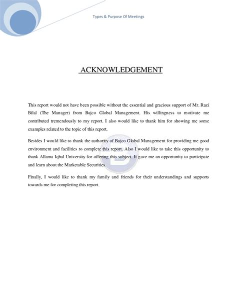 Acknowledgement Letter For Assignment Effective Meetings Assignment
