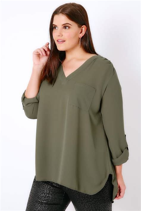You Ve 9190 Bra Black khaki v neck blouse with roll up sleeves pocket detail