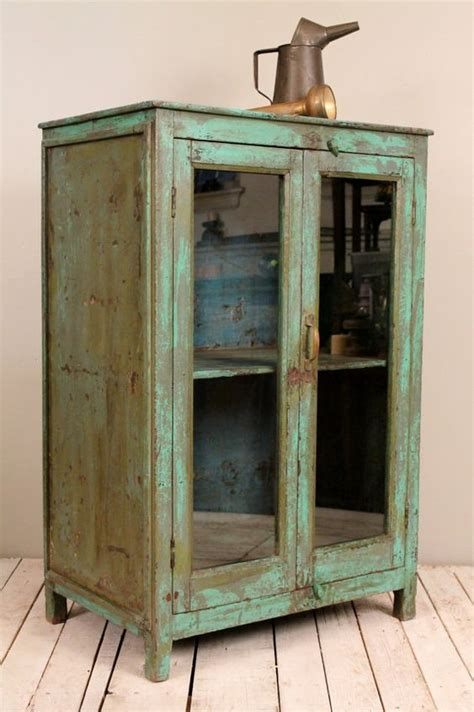 Antique Rustic Chic Bright Green Indian Bar Storage Rustic Bathroom Storage