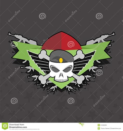military logo skull with wings on the shield stock vector