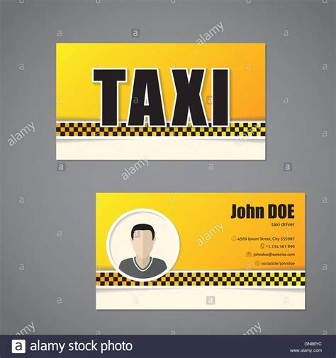 taxi name card template taxi business card template with driver photo stock vector
