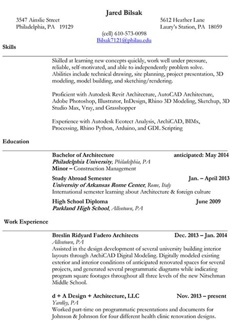 architecture portfolio and resume