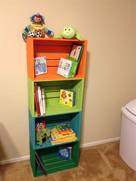 toddler room shelves diy wooden crate book shelf for room i only used one crate on the floor so the one