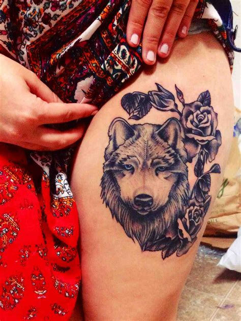 wolf with rose tattoo tattooed images