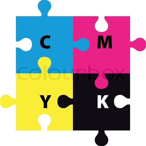 cmyk puzzle cmyk puzzle stock vector colourbox