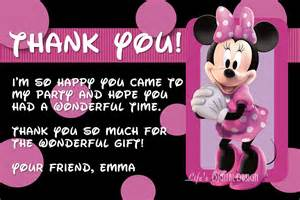 minnie mouse thank you card with photo and background options