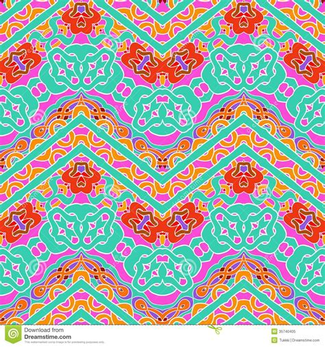 colorful ethnic wallpaper multicolor pattern with ornamental zigzag lines stock