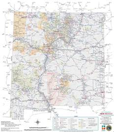 large detailed tourist map of new mexico with cities and towns