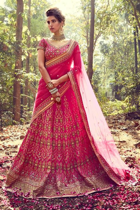 designer bridal wear pink color designer silk bridal wear lehenga choli from