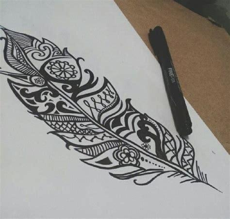 design drawing boho feather image 2098872 by patrisha on favim