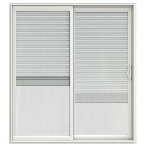 Slider Blinds Patio Doors Jeld Wen 72 In X 80 In V 2500 Series Vinyl Sliding Patio Door With Blinds White Shop Your