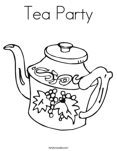 Tea Party Coloring Page Twisty Noodle Tea Coloring Pages