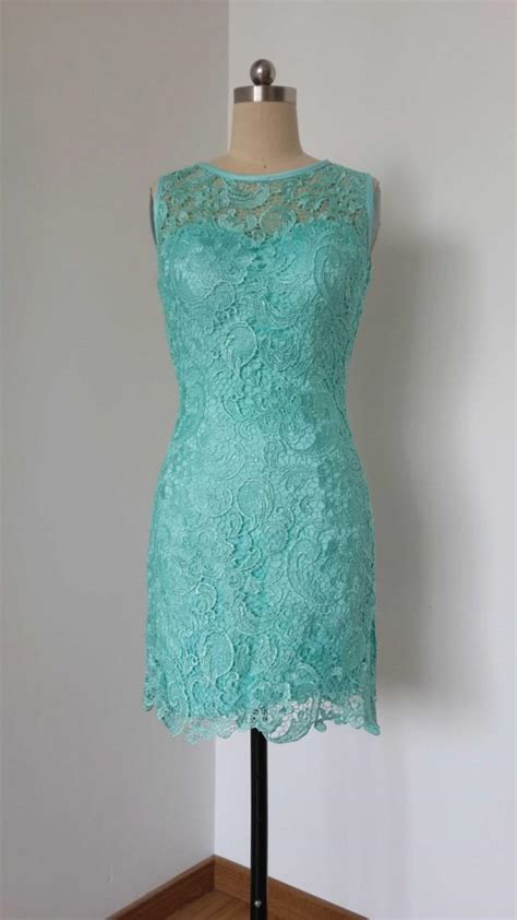 2015 Sheath Turquoise Blue Lace Short Bridesmaid Dress