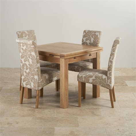 Dorset Oak Dining Set 3ft Table With 4 Beige Chairs Solid Oak Dining Room Furniture