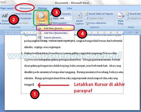 cara membuat format daftar pustaka di word cara membuat daftar pustaka otomatis di word 2007 2010