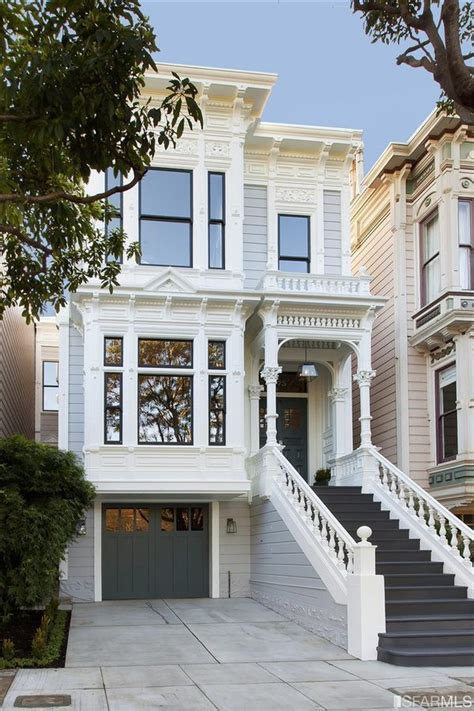 Garage Doors In San Francisco Sanfrancisco Row House The Visual Lines Are Clean And I The Contrast Of The Stairs