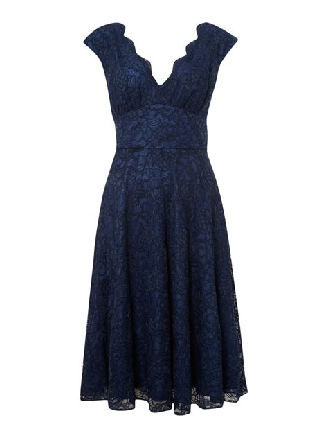 ariella lace v neck skirt dress in blue navy lyst