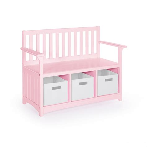 bench with storage bins classic storage bench w bins in pink guidecraft g87708