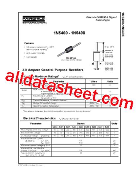 1n5408 diode datasheet 1n5404 datasheet pdf fairchild semiconductor