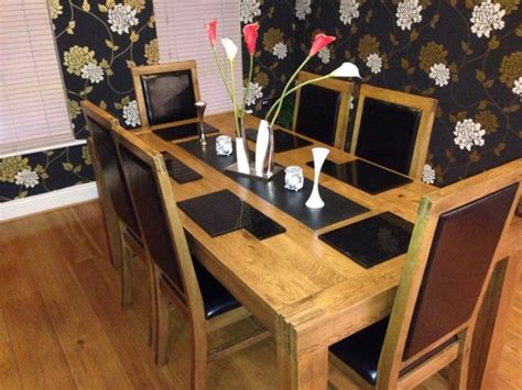 Solid Granite Dining Table Solid Oak Dining Room Table With Granite Inset 6 Oak Chairs With Leather For Sale In Tallaght