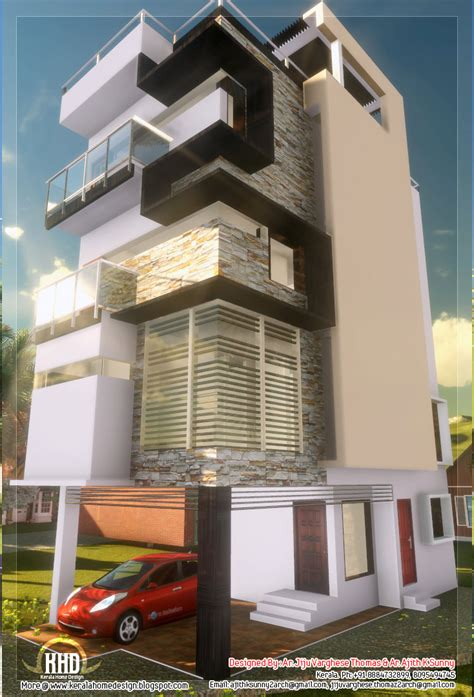 3 floor contemporary narrow home design kerala home