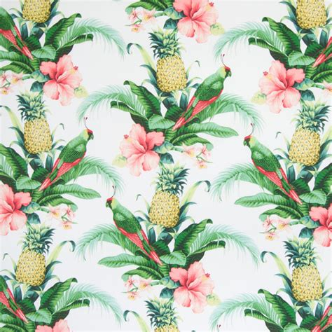 Upholstery Fabric Tropical by Lush Green Green Gray Tropical Animal Novelty Floral