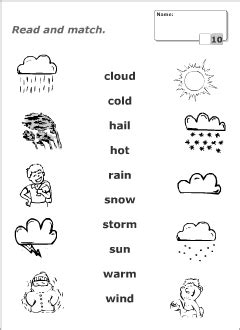 quiz for easy kid activity worksheets for learning vocabulary weather vocab