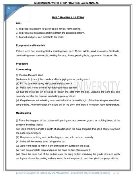 pattern making workshop practice mechanical workshop practice 2 by sudarshan bollapu