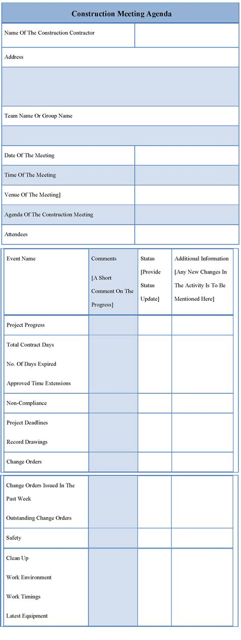 agenda template for construction meeting exle of