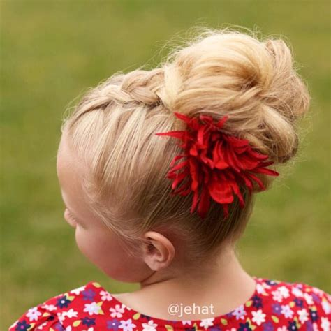 red braids in a bun jehat hair dutch braid to messy bun red flower to